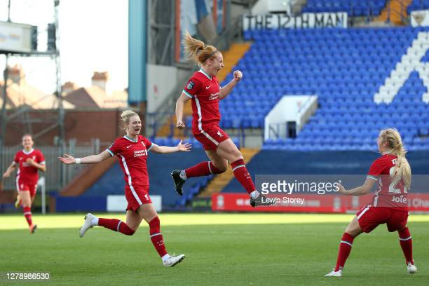 Rachel Furness of Liverpool celebrates scoring her sides third goal during the FA Women's Continental League Cup match between Liverpool and...