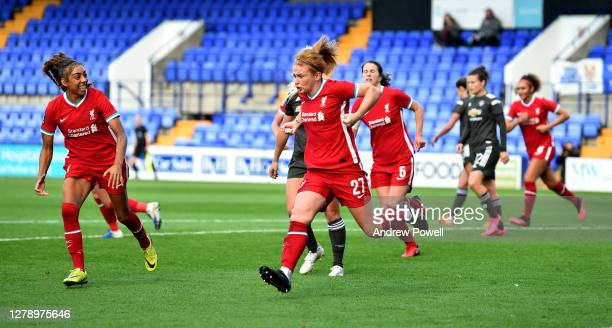 Rachel Furness of Liverpool Women celebrates after scoring from the penalty spot making the score 1-1 during the FA Women's Continental League Cup...