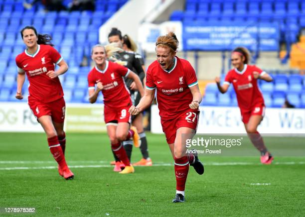 Rachel Furness of Liverpool Women celebrates after scoring from the penalty spot making the score 11 during the FA Women's Continental League Cup...