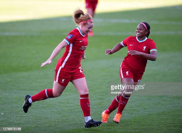 Rachel Furness of Liverpool Women celebrates after scoring the third goal during the FA Women's Championship match between Liverpool Women and...