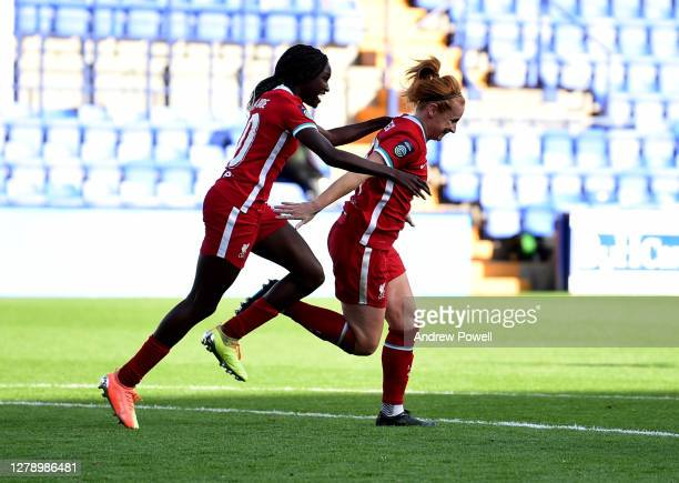 Rachel Furness of Liverpool Women celebrates after scoring the third goal during the FA Women's Continental League Cup match Liverpool Women and...