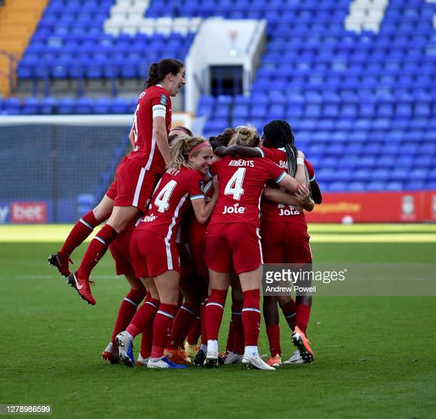 Rachel Furness of Liverpool Women celebrating after scoring the third goal during the FA Women's Continental League Cup match Liverpool Women and...