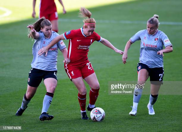 Rachel Furness of Liverpool Women competing with Alice Griffiths and Jenna Legg of Charlton Athletic Women during the FA Women's Championship match...