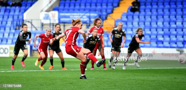 Rachel Furness of Liverpool Women scores from the penalty spot making the score 1-1 during the FA Women's Continental League Cup match Liverpool...