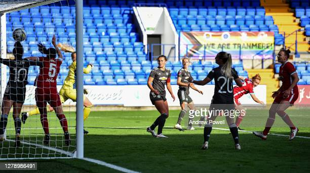 Rachel Furness of Liverpool Women scoring the third goal during the FA Women's Continental League Cup match Liverpool Women and Manchester United...