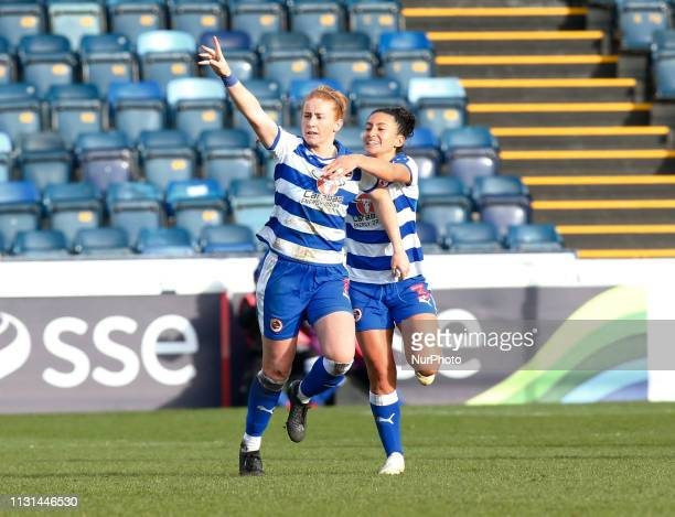 Rachel Furness of Reading FC Women celebrate her goal during The SSE Womens FA Cup Quarter Final match between Reading FC Women and Manchester United...