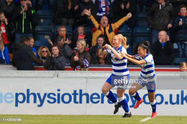 Rachel Furness of Reading Women celebrates scoring her sides first goal during the Women's FA Cup Semi Final match between Reading Women and West Ham...