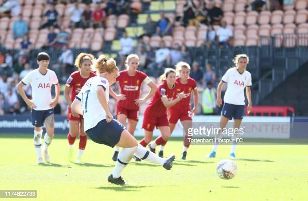 Rachel Furness of Tottenham Hotspur Women scores their first goal during the Barclays FA Women's Super League match between Tottenham Hotspur and...