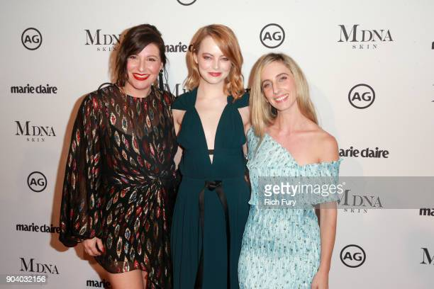 Rachel Goodwin Emma Stone and Mara Roszak attend the Marie Claire's Image Makers Awards 2018 on January 11 2018 in West Hollywood California