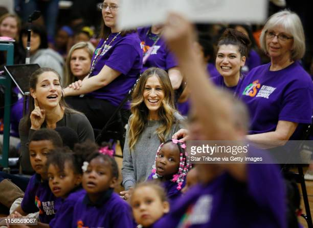 Rachel Goslins left executive director of President Obama committee for Arts and Humanities left and actress Sarah Jessica Parker cheered for...