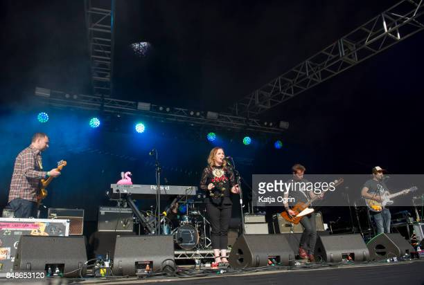 Rachel Goswell Nick Chaplin and Neil Halstead of Slowdive performing on stage at Beyond The Tracks Festival on September 17 2017 in Birmingham England