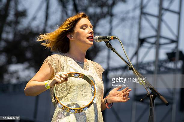 Rachel Goswell of Slowdive performs on stage at FYF Festival at LA Sports Arena on August 23 2014 in Los Angeles United States
