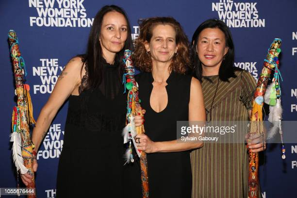 Rachel Gould Adrienne Becker and Angie Wang attend The New York Women's Foundation Radical Generosity Gala at The Plaza on October 15 2018 in New...