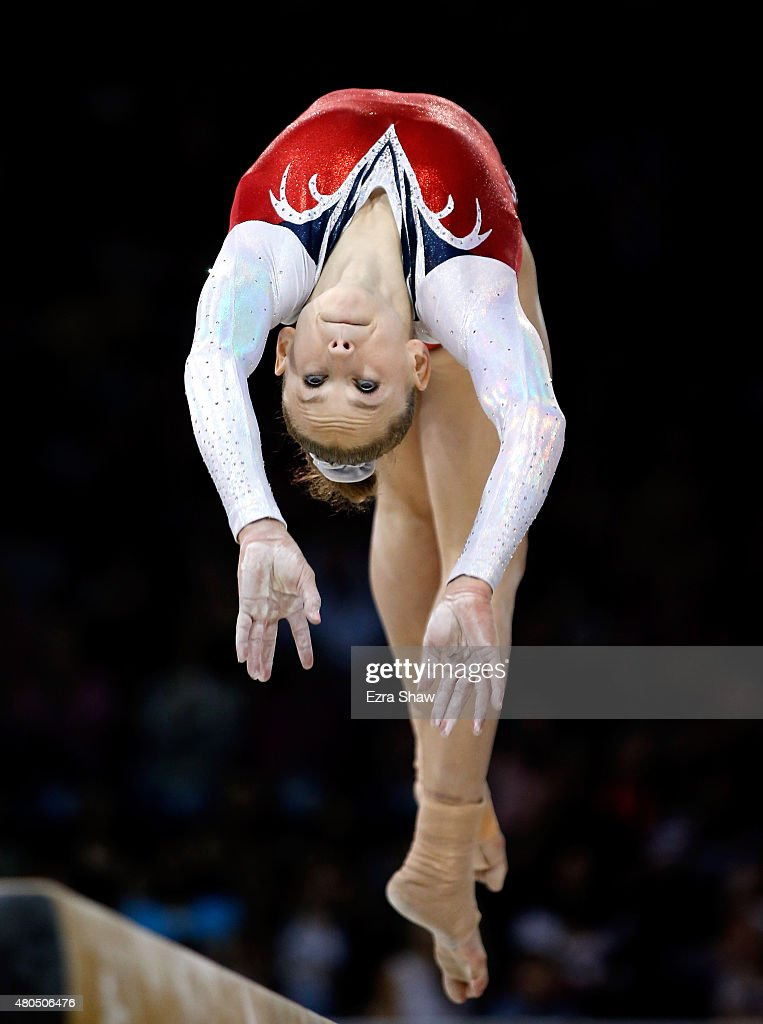 Rachel Gowey of the United States warms up for the balance beam during the women's artistic gymnastics team final and qualifications on Day 2 of the Toronto 2015 Pan Am Games at Toronto Coliseum on July 12, 2015 in Toronto, Canada.