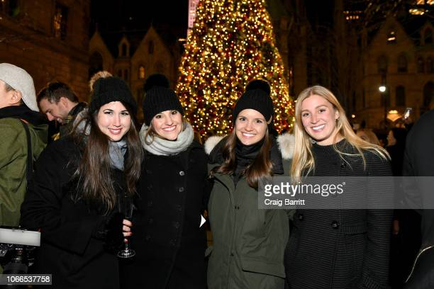 Rachel Greenwald Ariel Cohen Danielle Hendricks and Madison Vessels attend the Lotte New York Palace Annual Tree Lighting on November 29 2018 in New...
