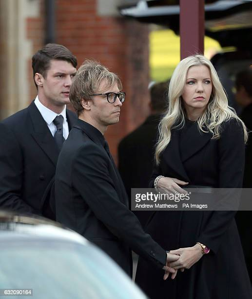 Rachel Gretton and Rick Parfitt Jnr arrive at Woking Crematorium for the funeral of his father and Status Quo guitarist Rick Parfitt who died on...