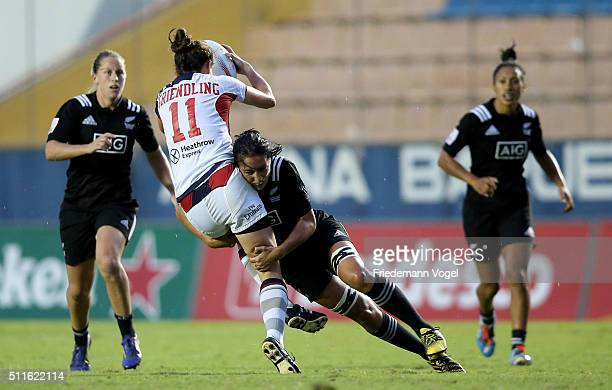 Rachel Griendling of USA in action against New Zealand during the Women's HSBC Sevens World Series at Arena Barueri on February 21 2016 in Barueri...