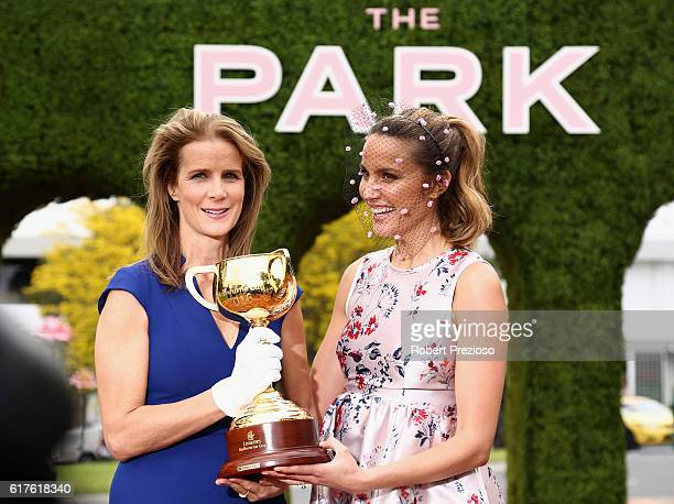 Rachel Griffiths actor and film maker and Rachael Finch Myer Ambassador pose for photos with the Melbourne Cup during the Melbourne Cup Carnival...