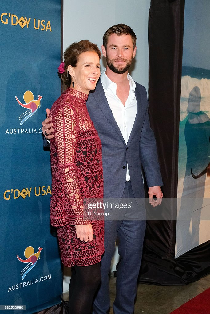 Rachel Griffiths (L) and Chris Hemsworth attend A Virtual Tour of Australia at Hudson Mercantile on January 23, 2017 in New York City.
