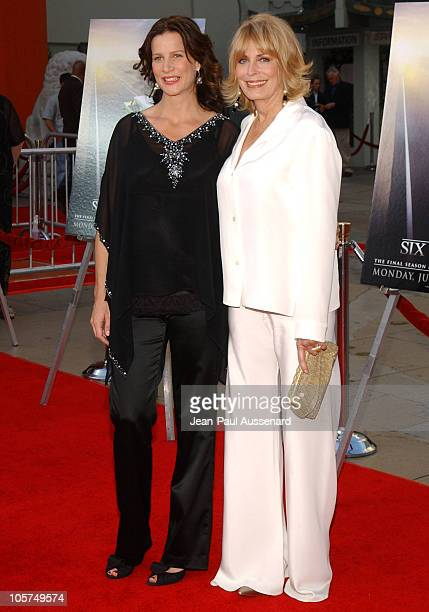 Rachel Griffiths and Joanna Cassidy during HBO's Six Feet Under Season 5 Premiere at Chinese Theater in Hollywood California United States