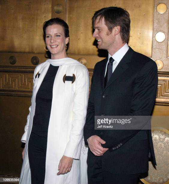 Rachel Griffiths and Peter Krause during HBO's Six Feet Under Third Season World Premiere After Party at Capitale in New York City New York United...