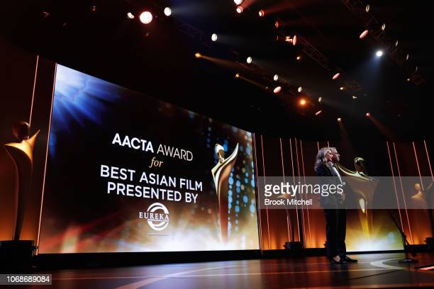 Rachel Griffiths and Renny Harlin present the AACTA Award for Best Asian Film presented by Eureka International Group during the 2018 AACTA Awards...