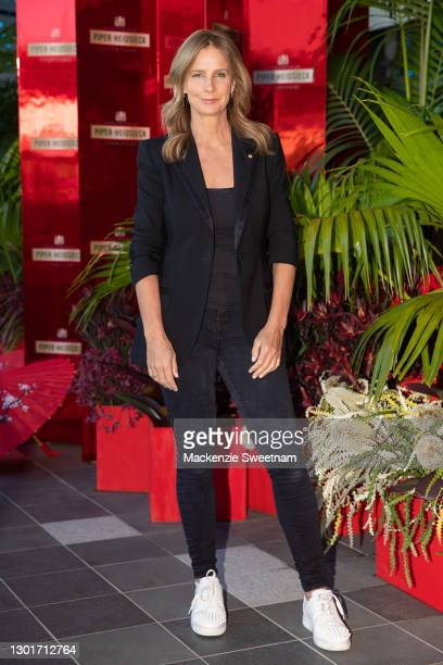 Rachel Griffiths attends the Piper-Heidsieck Champagne Bar during the 2021 Australian Open at Melbourne Park on February 12, 2021 in Melbourne,...