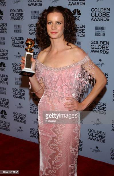 Rachel Griffiths holds her award for Best Supporting Actress in a Television Series for her role in Six Feet Under at the 59th Annual Golden Globe...