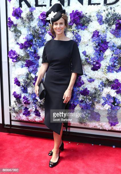 Rachel Griffiths poses at the Kennedy Marquee on Derby Day at Flemington Racecourse on November 4 2017 in Melbourne Australia