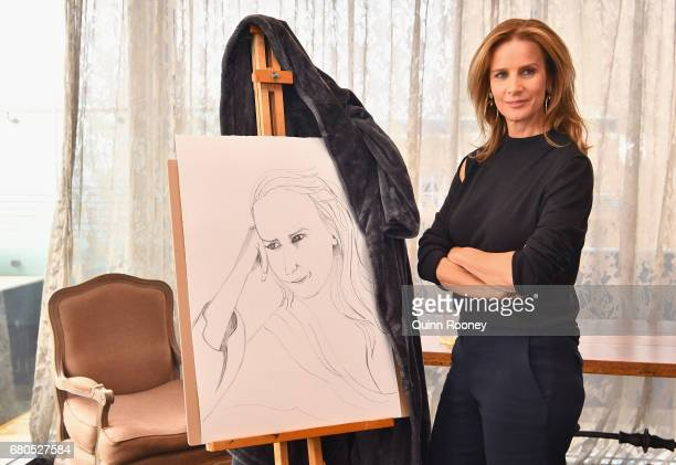Rachel Griffiths poses at The Olsen Hotel in aid of 'No Robe' Campaign on May 9 2017 in Melbourne Australia