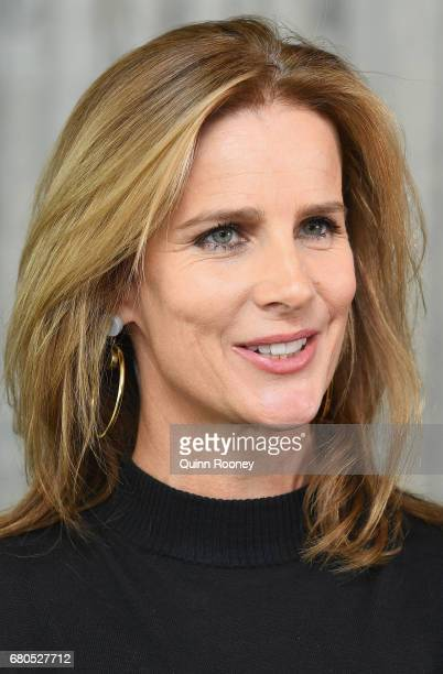 Rachel Griffiths speaks to the media at The Olsen Hotel in aid of 'No Robe' Campaign on May 9 2017 in Melbourne Australia