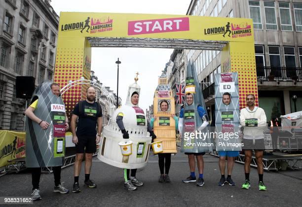 Rachel Harris, Edward Brown, Trevor Dawd, Matthew Clare, Ian Houston, Ben Goodberry and Pardip in fancy dress as various London Landmarks pose for a...