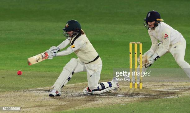 Rachel Haynes of Australia bats during day two of the Women's Test match between Australia and England at North Sydney Oval on November 10 2017 in...