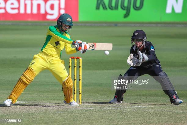 Rachel Haynes of Australia bats during game one in the women's One Day International Series between Australia and New Zealand at Allan Border Field...