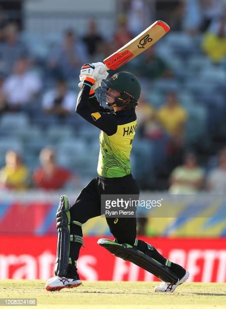 Rachel Haynes of Australia bats during the ICC Women's T20 Cricket World Cup match between Australia and Sri Lanka at the WACA on February 24, 2020...