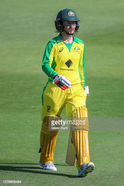Rachel Haynes of Australia leaves the field after getting out during game one in the women's One Day International Series between Australia and New...