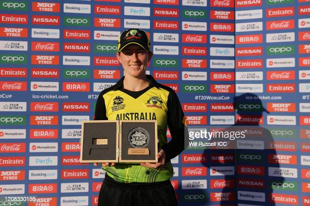 Rachel Haynes of Australia poses with the Player of the match award during the ICC Women's T20 Cricket World Cup match between Australia and Sri...
