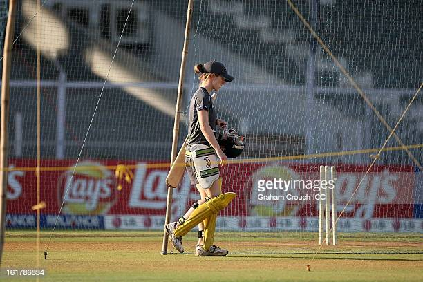 Rachel Haynes of Australia training at the Cricket Club of India ground ahead of tomorrows ICC Womens World Cup Final between Australia and West...