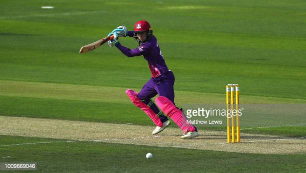 Rachel Haynes of Loughborough Lightning edges the ball towards the bounadry during the Kia Super League match between Loughborough Lightning and...