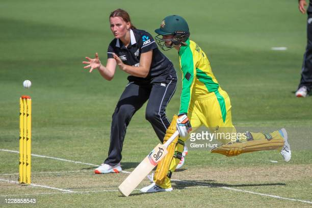Rachel Haynes of the Australia runs to the crease during game one in the women's One Day International Series between Australia and New Zealand at...