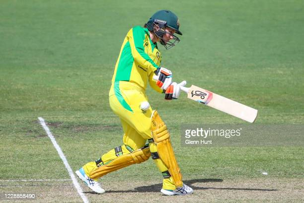 Rachel Haynes of the Australia tries to hit the ball during game one in the women's One Day International Series between Australia and New Zealand at...