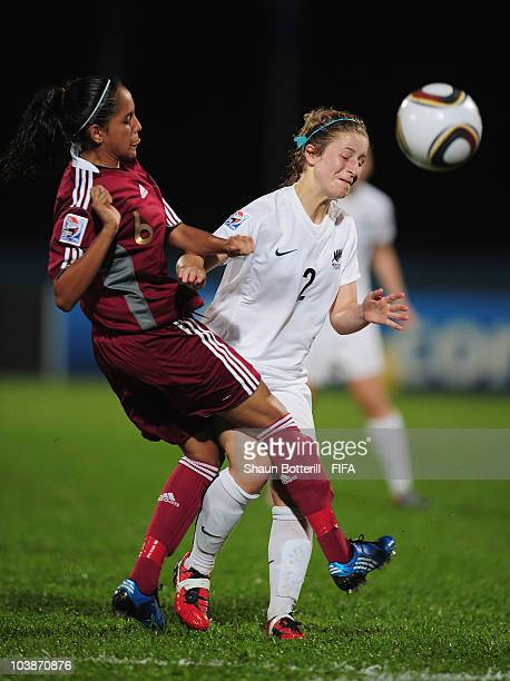 Rachel Head of New Zealand is challenged by Maria Rodriguez of Venezuela during the FIFA U17 Women's World Cup Group C match between New Zealand and...