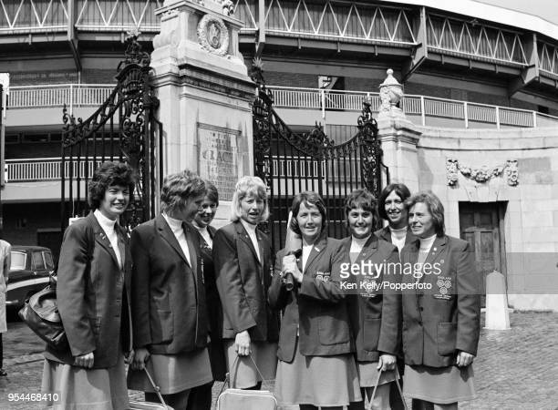 Rachel HeyhoeFlint captain of England Women cricket team stands outside the Grace Gates with teammates to promote the upcoming series against...