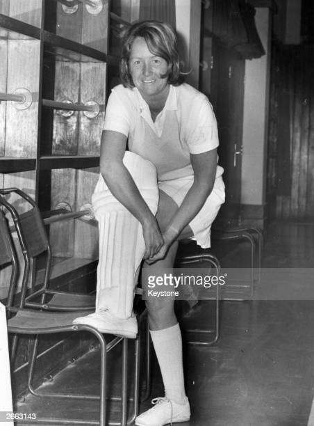 Rachel HeyhoeFlint the British female cricket player getting ready for a game Original Publication People Disc HE0076