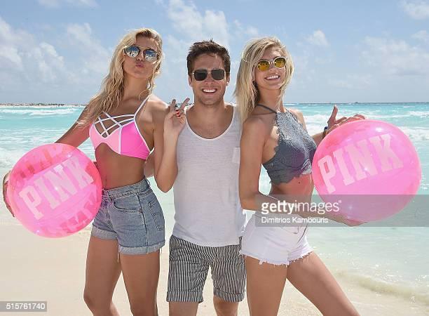 Rachel Hilbert Diego Boneta and Devon Windsor attend Victoria's Secret PINK Nation Spring Break Beach Party in Cancun Mexico on March 15 2016 in...