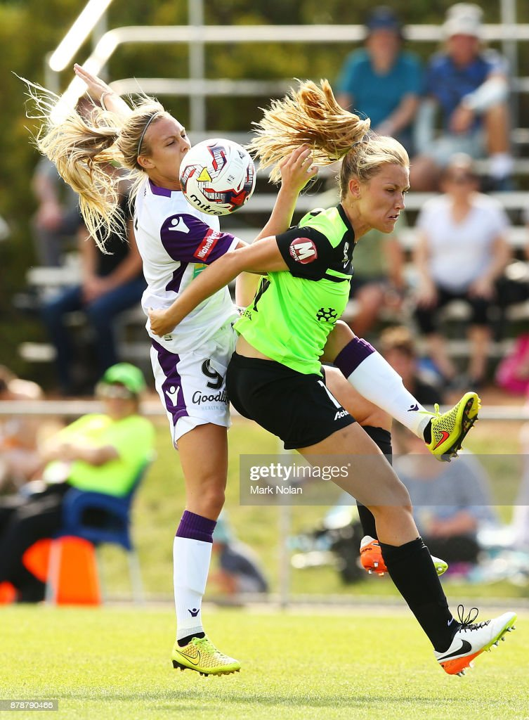 Rachel Hill of Perth and Taren KIng of Canberra contest possession during the round five W-League match between Canberra United and Perth Glory at McKellar Park on November 25, 2017 in Canberra, Australia.
