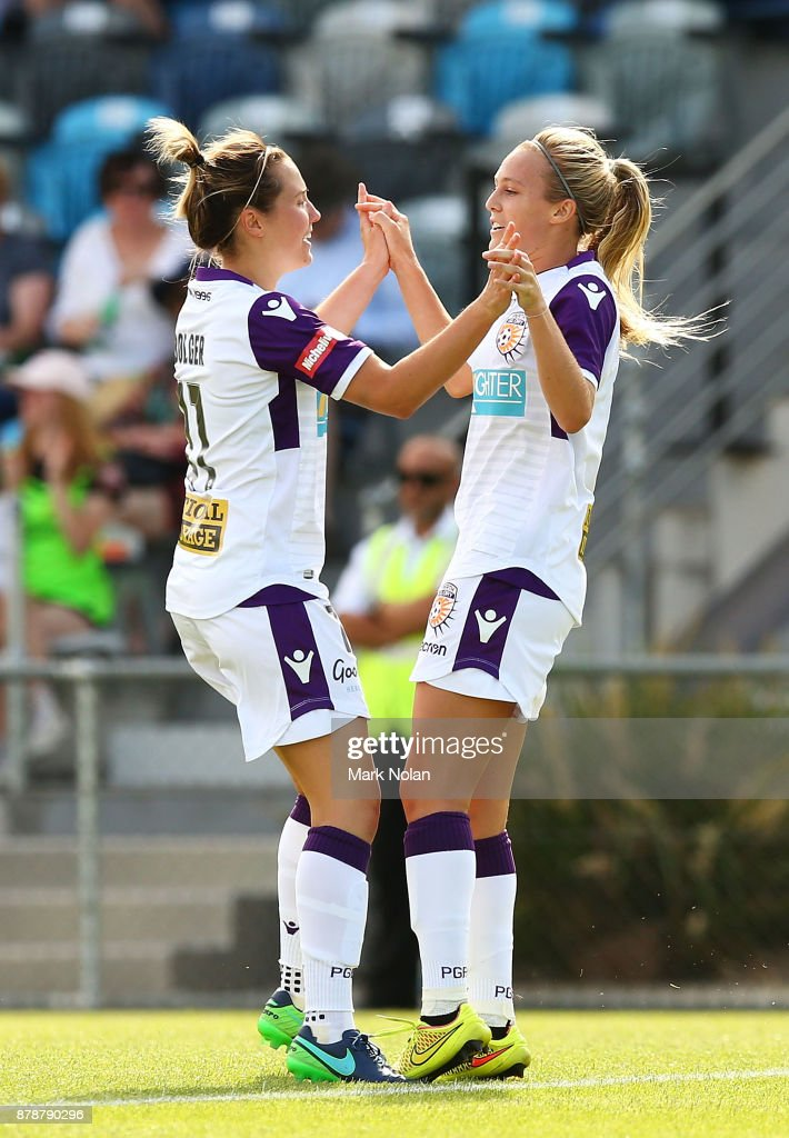 Rachel Hill of Perth (R) celebrates a goal during the round five W-League match between Canberra United and Perth Glory at McKellar Park on November 25, 2017 in Canberra, Australia.