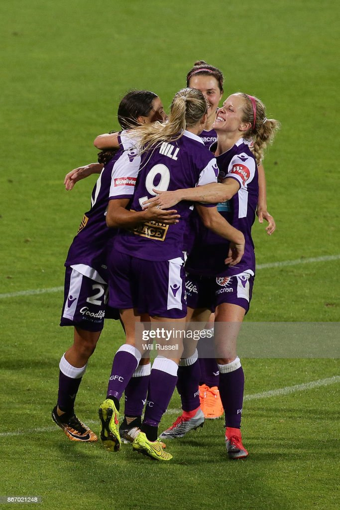 Rachel Hill of the Glory celebrates after scoring a goal during the round one W-League match between the Perth Glory and Melbourne City FC at nib Stadium on October 27, 2017 in Perth, Australia.