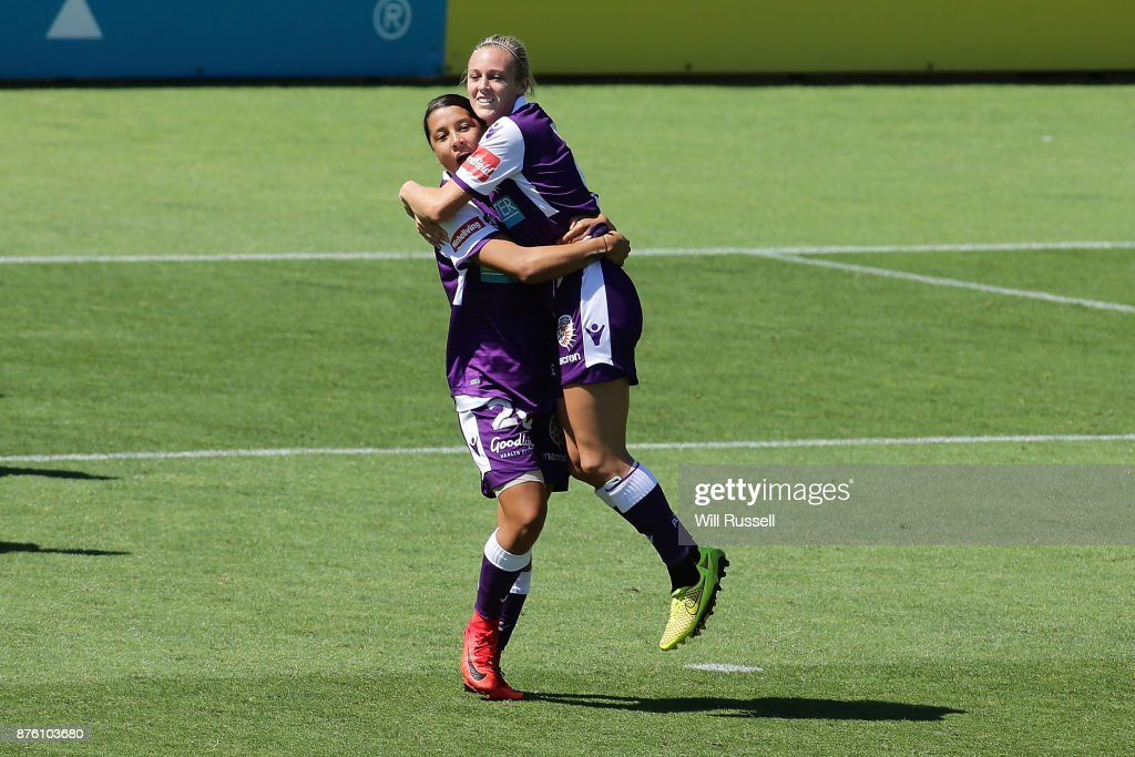 Rachel Hill of the Glory celebrates after scoring a goal during the round four W-League match between Perth Glory and Melbourne Victory at nib Stadium on November 19, 2017 in Perth, Australia.