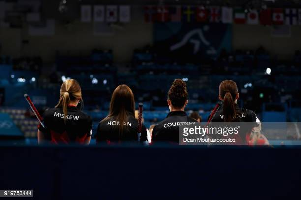 Rachel Homan Emma Miskew Joanne Courtney and of Canada compete during the Women Curling round robin session 7 on day nine of the PyeongChang 2018...
